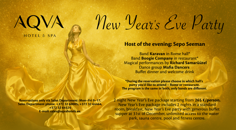 2021 New Year's Eve Party | AQVA Hotel & Spa
